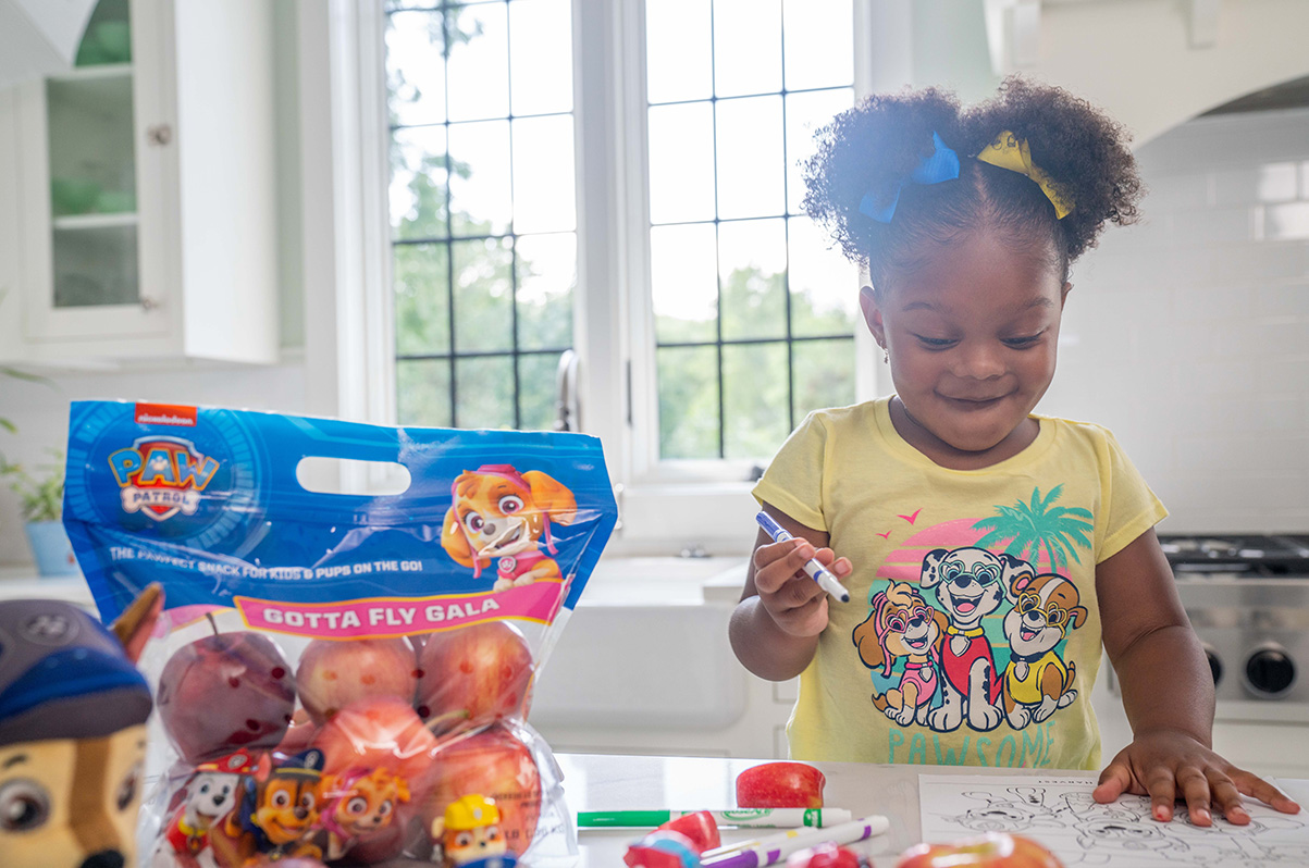 Belle harvest Paw Patrol apple packaging
